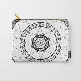 Zen Star Mandala - White Black - Square Carry-All Pouch