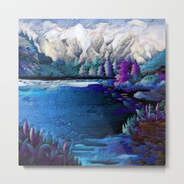 Magical Forest Lake Metal Print