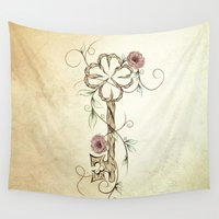 key Wall Tapestries featuring Key Lucky  by LouJah
