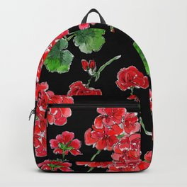 Red Geranium with black background Backpack