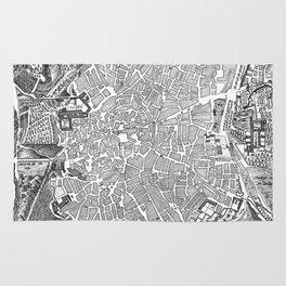Vintage Map of Madrid Spain (1702) BW Rug
