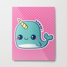 Kawaii Blue Narwhal Metal Print