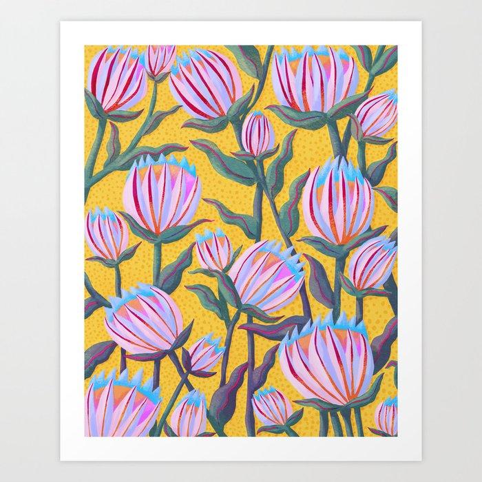 Bold Protea Flower Pattern - Pink Blue Green Purple Yellow Art Print
