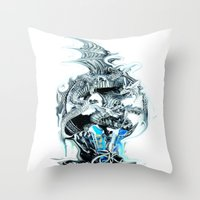 dragons Throw Pillows featuring dragons by Vector Art