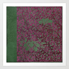 Caravans II:  Asian Print  Plum, purple green origami textile floral design Art Print