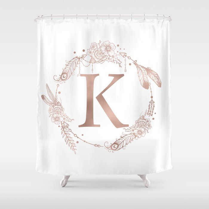 Letter K Rose Gold Pink Initial Monogram Shower Curtain