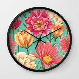 Kitschy Nineties Flower Pattern in Pink and Aqua Wall Clock