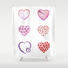 Watercolor Pink Hearts Shower Curtain