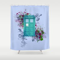 doctor who Shower Curtains featuring Doctor Who by Laain Studios