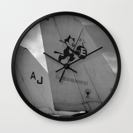 Navy Tomcat Jet Tailwings Black And White Print Wall Clock