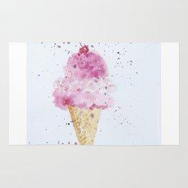 Ice cream Love Summer Watercolor Illustration Rug