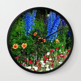 Blue Delphinium Summer Flowers Wall Clock