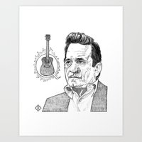 Johnny Cash Illustration Art Print
