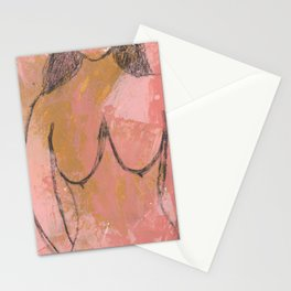 Nude Abstract Couple: Hers Stationery Cards