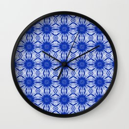 Sapphire Blue Floral Abstract Wall Clock