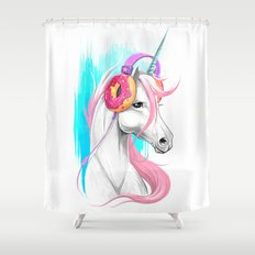 Unicorn in the headphones of donuts Shower Curtain