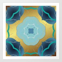 Vintage Tiles: Yellow Art Print