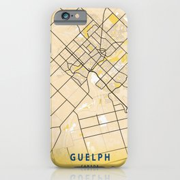 Guelph Yellow City Map iPhone Case
