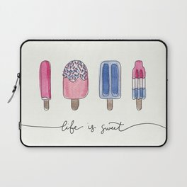 Life is Sweet Hand Lettered Watercolor Popsicle Illustration Laptop Sleeve