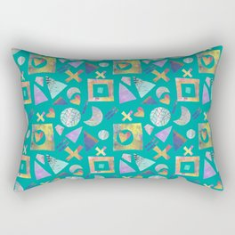Geometric collage - turquoise Rectangular Pillow