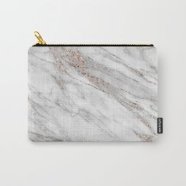 Pink Rose Gold Blush Metallic Glitter Foil on Gray Marble Carry-All Pouch