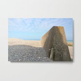 A sun on concrete. Beach of Sainte Marguerite sur mer (Bay of Somme France) Metal Print
