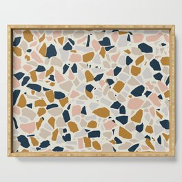 Terrazzo Mosaic Pattern, Gold, Navy, Blush Pink, Neutrals Serving Tray