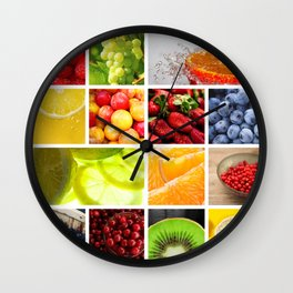 Colorful & Vibrant Fruit Collage Wall Clock