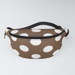 Van Dyke brown - brown - White Polka Dots - Pois Pattern Fanny Pack