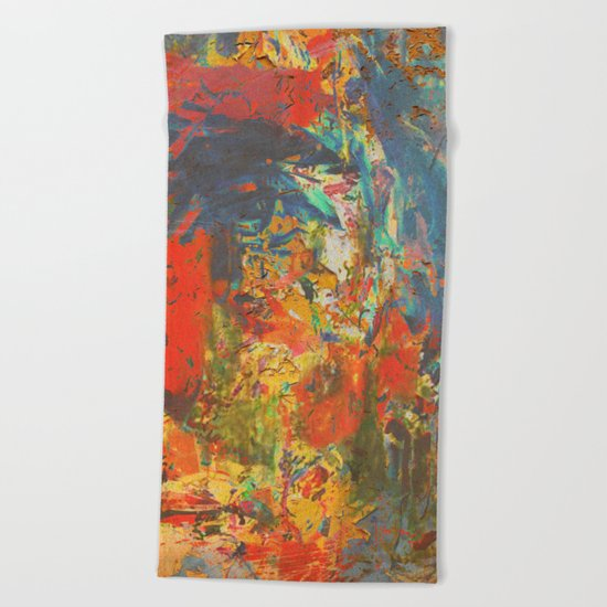 Blue and Red Wall Beach Towel