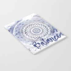 Blue Watercolor Mandala Painting with Word Balance Notebook