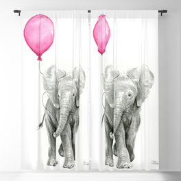 Baby Elephant with Pink Balloon Blackout Curtain
