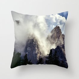 Mystical Mountains in Clouds, Landscape Nature Photography Throw Pillow