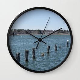 Nine Poles and a Seagull Wall Clock