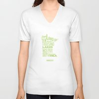minnesota V-neck T-shirts featuring Minnesota Spring by Kelly Jane