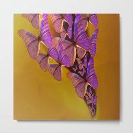 Shiny Purple Butterflies On A Ocher Color Background #decor #society6 Metal Print