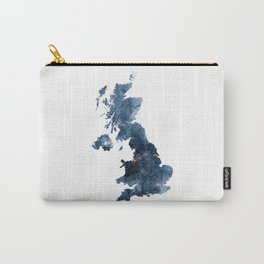 Great Britain Map Watercolor Navy Blue by Zouzounio Art Carry-All Pouch