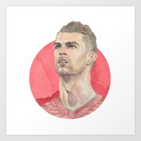 ronaldo Art Prints featuring Ronaldo by Megan Diño