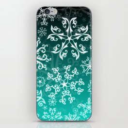 Symbols in Snowflakes on Winter Green iPhone Skin