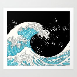 The Great Wave (night version) Art Print