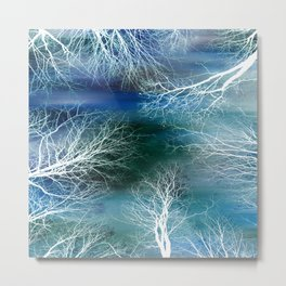 Abstract Midnight Trees Turquoise Teal Metal Print