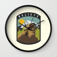 bigfoot Wall Clocks featuring Bigfoot Patch by uhohreilly