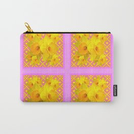 Fuchsia Quatre Panel Daffodil Pattern Carry-All Pouch