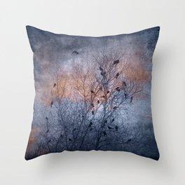 Flocking Blackbirds Throw Pillow