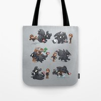 how to train your dragon Tote Bags featuring How Not to Train Your Dragon by Dooomcat