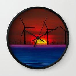 Sunset Wind Farms (Digital Art) Wall Clock