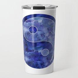 Blue Yin & Yang Mandala Travel Mug
