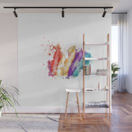 Boho Watercolor Feathers Wall Mural