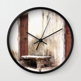 Seat in front of the Old Door Wall Clock