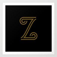 Mocha Script Z Drop Cap Art Print